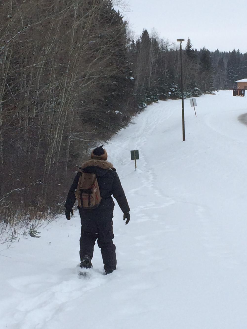 Dean snowshoeing